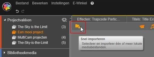 Klik op de knop Snel importeren en voeg de mediabestanden toe aan uw project.