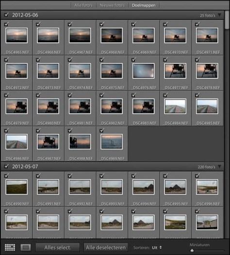 Het voorvertoonvak toont in een raster de foto's die geïmporteerd zullen worden. Bovenaan is gekozen voor Doelmappen waardoor u kunt zien in welke mappen de foto's na importeren terecht zullen komen. In dit geval 2012-05-06 en 2012-05-07.