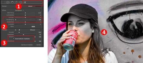 Kleur wegschilderen met het Aanpassingspenseel, Verzadiging, -100%. Zet Automatisch maskeren aan of uit, afhankelijk van de benodigde nauwkeurigheid.