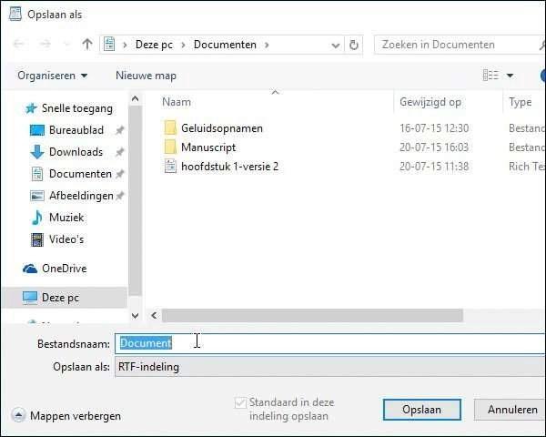 Blader naar de zojuist gemaakte map Manuscript. Standaard stelt WordPad al voor om een nieuw document op te slaan in de map Documenten. Het dialoogvenster Opslaan als lijkt verdacht veel op Windows Verkenner.