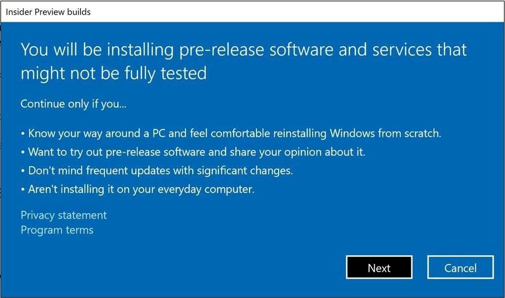 Ik ben een Windows Insider...