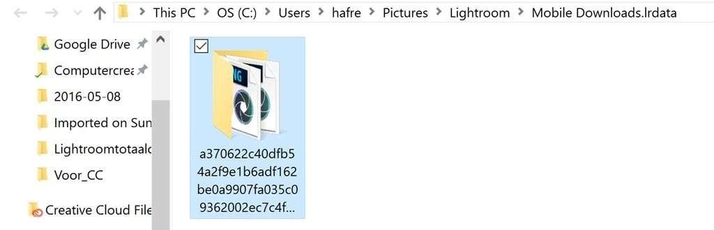 In de Windows-verkenner ziet de map met Lightroom Mobile-foto's er zo uit.