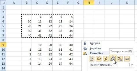Wilt u een complete tabel kantelen, dan kiest u na Kopiëren de optie Transponeren.