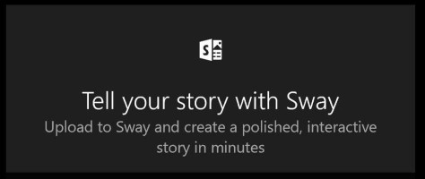 Onderaan een Album vind je de 'knop' Tell your story with Sway.