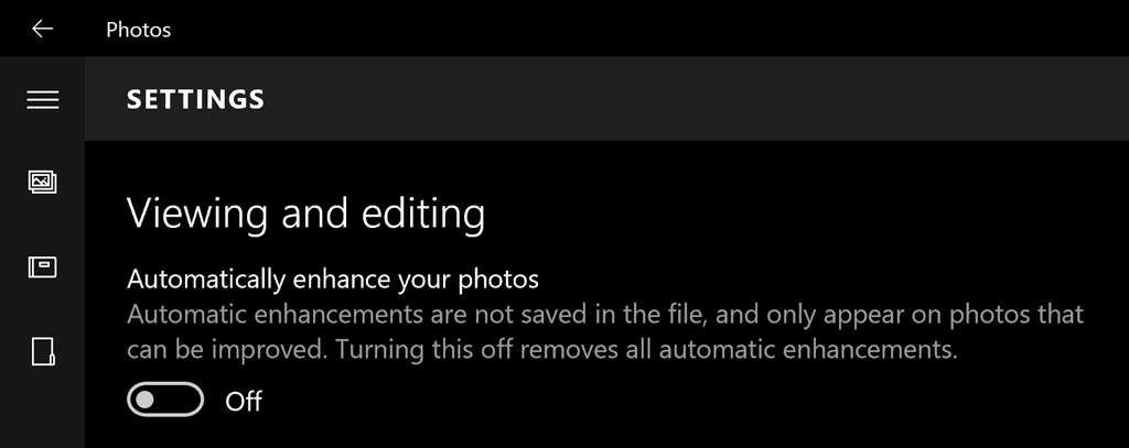 Zet 'Automatically Enhance your photos' uit...