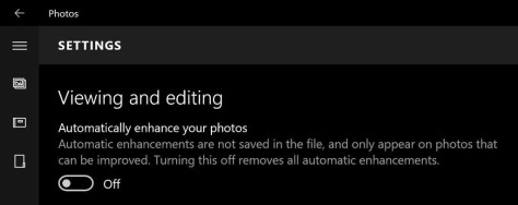 Zet 'Automatically Enhance your photos' uit...
