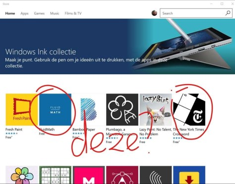 Een screendump van de Windows App Store, met daarop in Screen sketch wat aantekeningen.