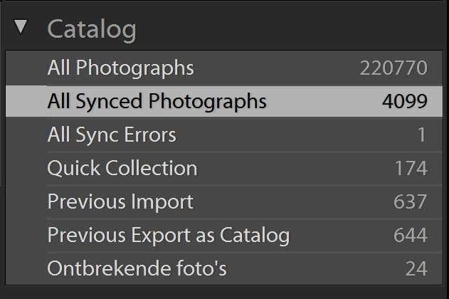 Bij het tabblad Catalog vind je nu 'All synced photographs'.