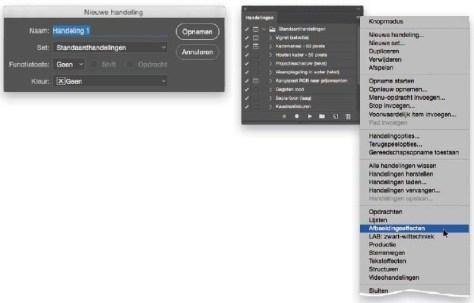 Handelingen in Adobe Photoshop.