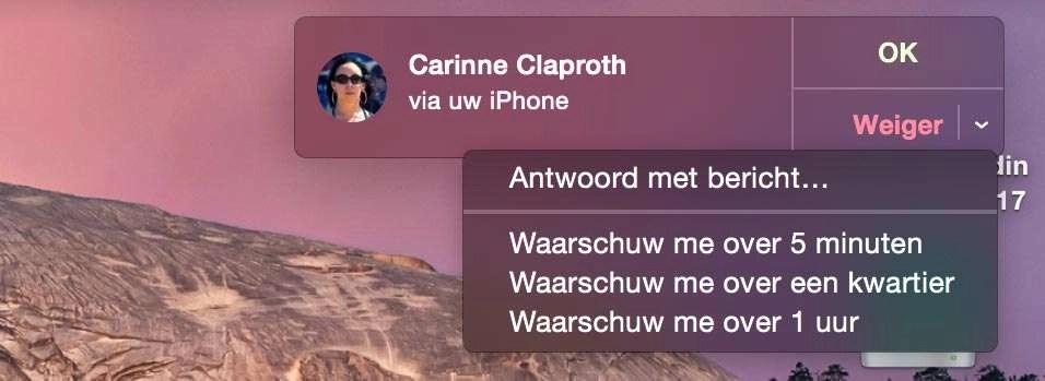 ***Sierra_Handoff_bellen01 Oproepen van uw telefoon kunt u opnemen op uw Mac. U kunt ook direct een tekstbericht sturen als het telefoontje ongelegen komt.