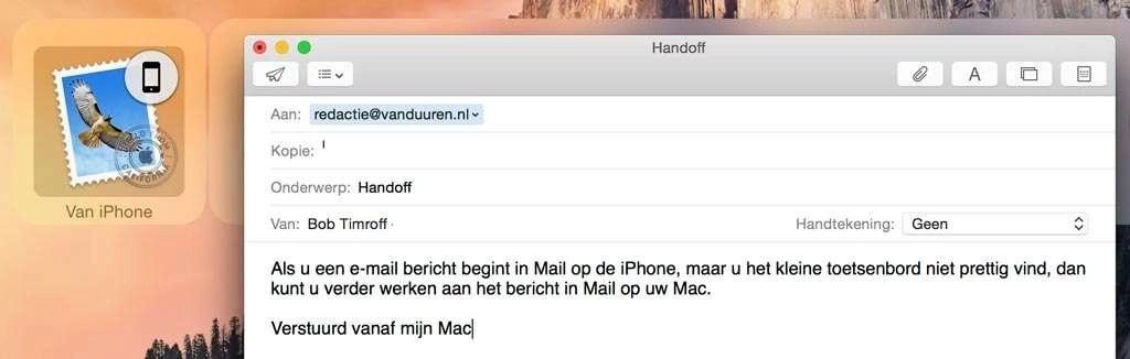 …en werk verder aan het bericht op uw Mac.