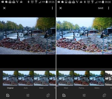 Links de oorspronkelijke foto, rechts met de aanpassingen uit het filter Auto.