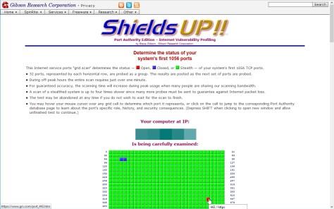 In principe horen alle blokjes bij een correct werkende firewall groen te zijn