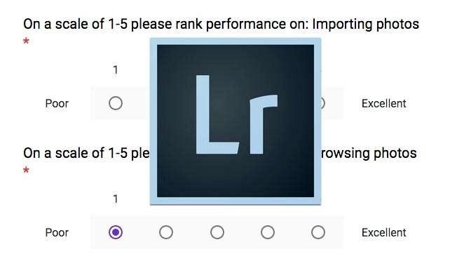 Vul in die enquête over de snelheid van Lightroom!