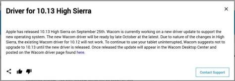 Wacom-tablet werkt nog niet op High Sierra