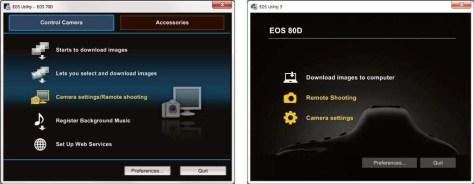 Camera op afstand bedienen met de  EOS Utility