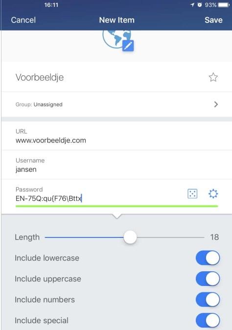 Genereer complexe en moeilijk te raden wachtwoorden vanuit de app