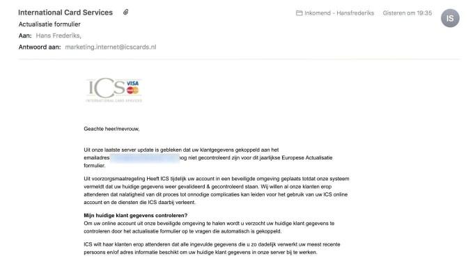 Phishing met een Actualisatie formulier