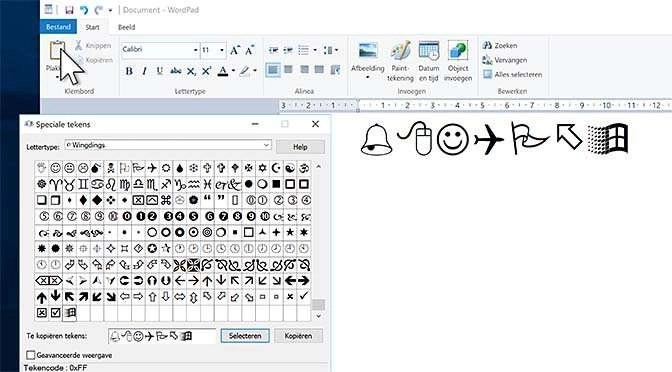 Speciale tekens te over in hetr Windows lettertype Windings!