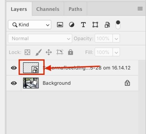 Dubbelklik op het Slimme Object-symbool in je lagenpaneel