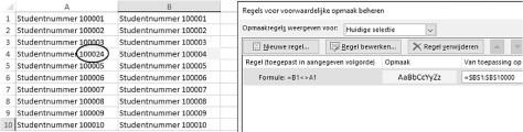 ongelijke cellen zoeken in Excel