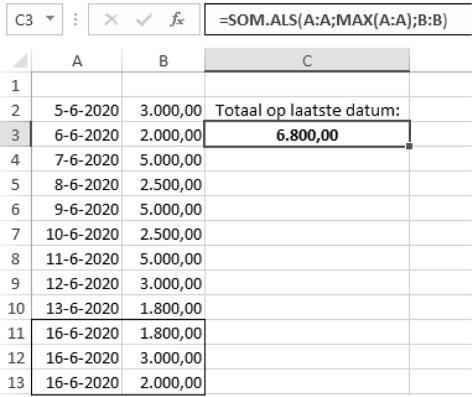 grootste waarden optellen in Excel