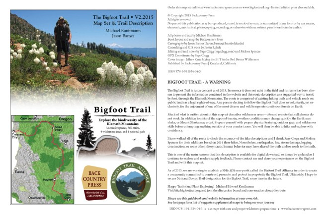Bigfoot Trail map set V2.2015 cover pages.