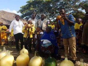 TASTING TIME: MEC S Zikalala; Umkhanyakude District Mayor S Mkhombo and Inkosi Tembe taste the first brew of the Marula fruit. #umthayi2017