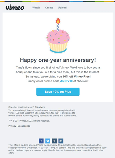 Anniversary reminder example from Vimeo.