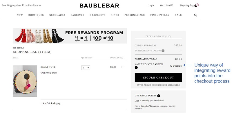 Best Checkout Pages example 6: BaubleBar