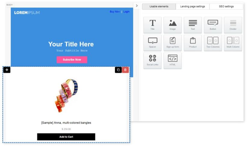 Landing Page Builder - Drag and Drop Products