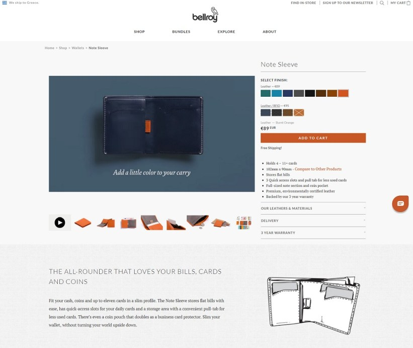 Best product pages: Bellroy