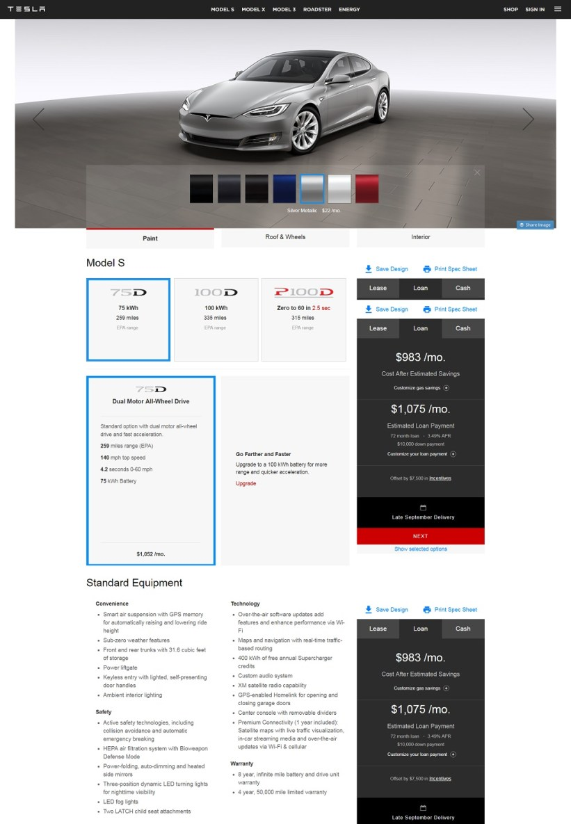 Best product pages: Tesla