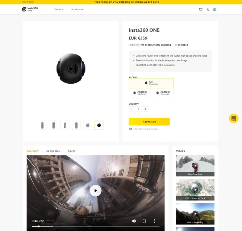 Best product pages: Insta360