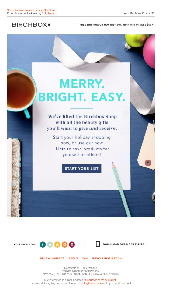 happy holiday email subject lines - gift ideas