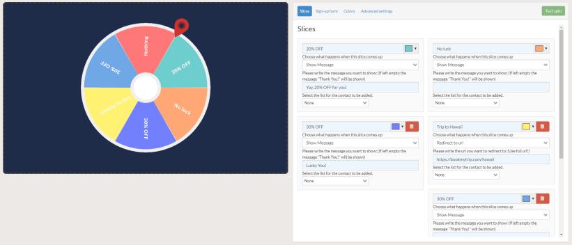 Spinwheel pop-up customization