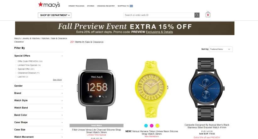 Macy's category page example