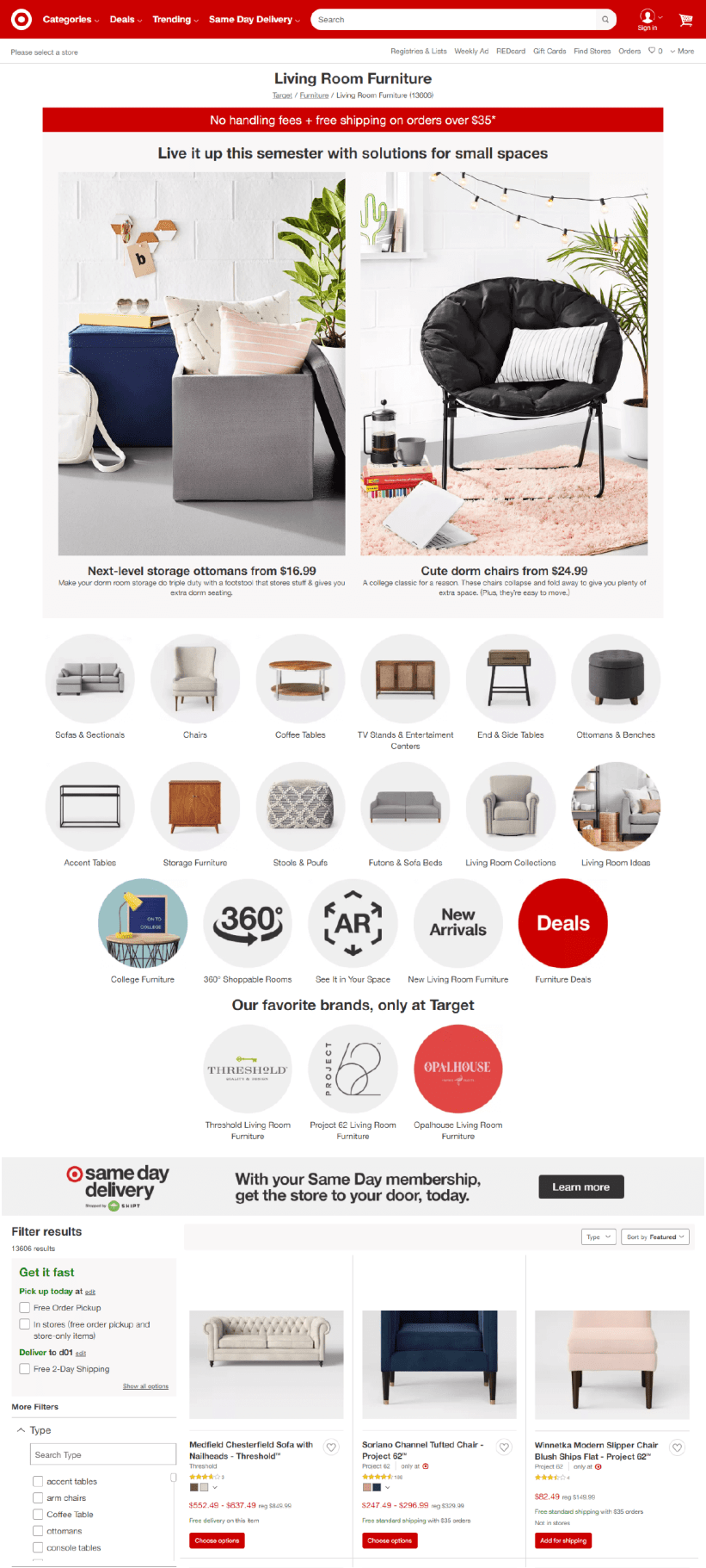 Target category page example