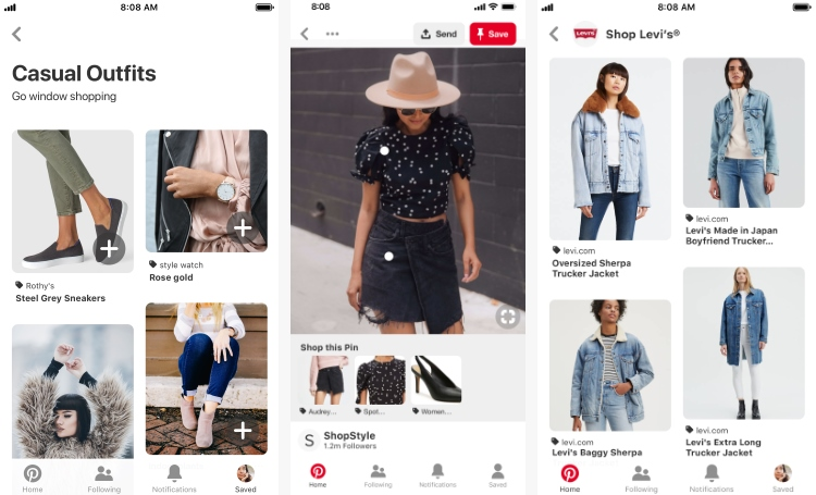 Example of visual shopping ads on Pinterest