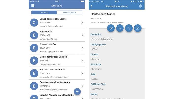 Contactos contasimple app