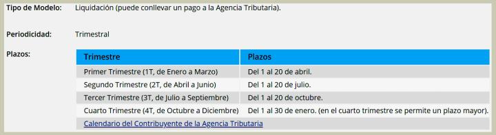 calendario fiscal del modelo 130