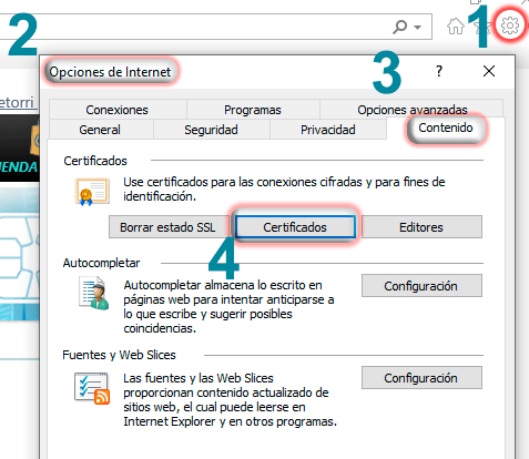 Comprobar descarga del certificado digital desde Internet Explorer