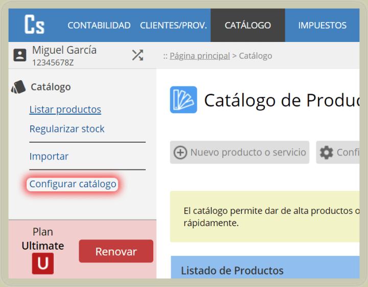 Configurar catálogo de productos