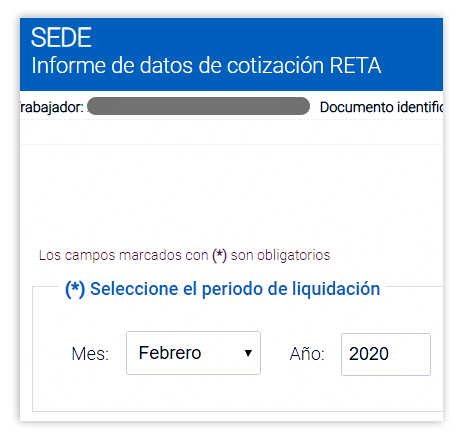 Informe de datos de cotización RETA para saber tu mutua de autónomo donde solicitar la prestación por cese de actividad.