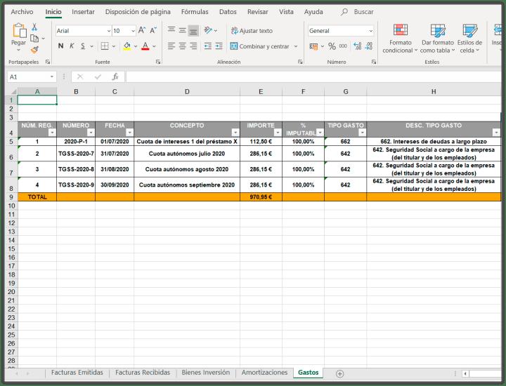 Exportar datos a excel: Gastos