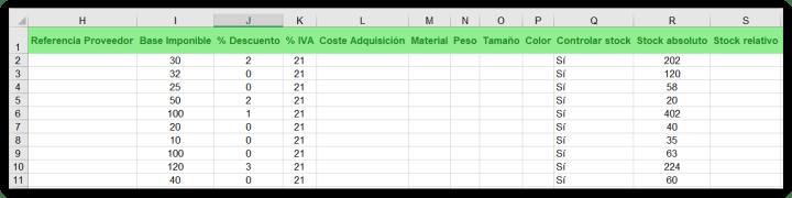 Excel de ejemplo para productos o servicios de catálogo. Columnas H a S.