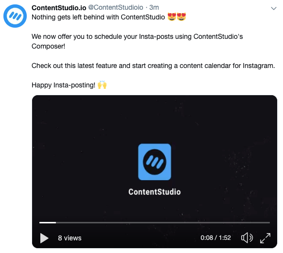Publish videos to Twitter using ContentStudio