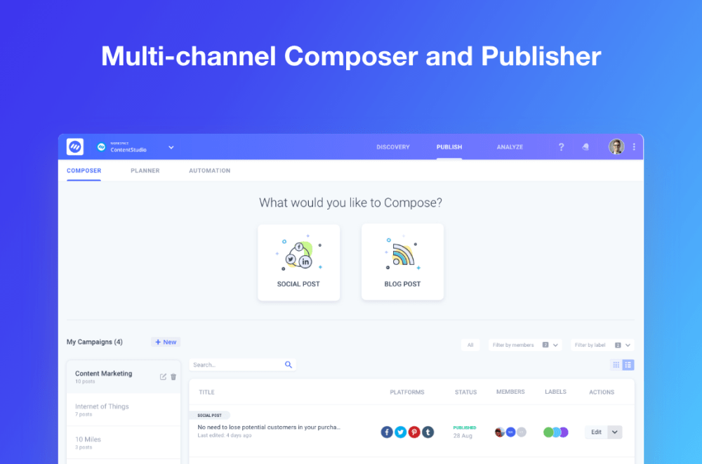 Product hunt kit - ContentStudio