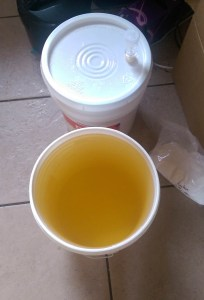 Cider with lid in primary, above. Sani bucket below.