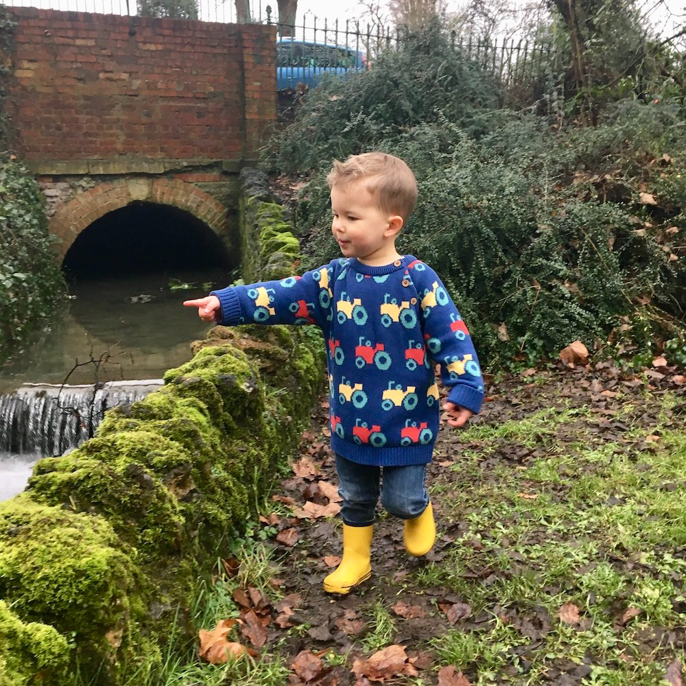 Ace wearing Farm Life organic cotton jumper by Kite clothing, cotswold baby co